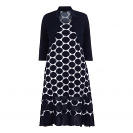 TIA navy large spotty Dress with bolero - Plus Size Collection