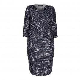 BEIGE LABEL PRINT BLACK PLEATED EFFECT WRAP DRESS  - Plus Size Collection