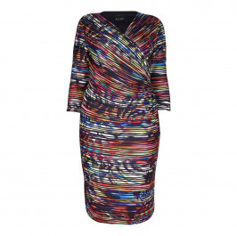 BEIGE LABEL PRINT MULTICOLOUR PLEATED EFFECT WRAP DRESS   - Plus Size Collection