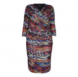 BEIGE LABEL PRINT MULTICOLOUR PLEATED EFFECT WRAP DRESS   - Plus Size Collection