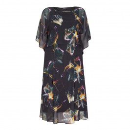 TIA MIDI FLORAL CHIFFON DRESS AND CAPE - Plus Size Collection