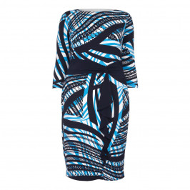 TIA ABSTRACT PRINT JERSEY DRESS WITH SASH - Plus Size Collection