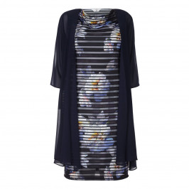 TIA MESH STRIPE FLORAL DRESS AND NAVY CHIFFON COAT - Plus Size Collection