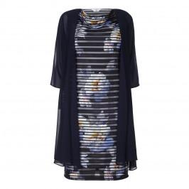 TIA NAVY STRIPE FLORAL PRINT DRESS + MESH COAT  - Plus Size Collection
