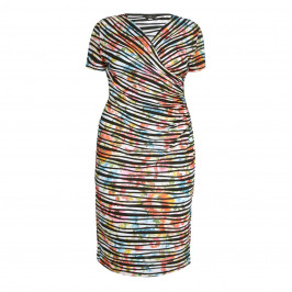 TIA multi striped and ruched DRESS - Plus Size Collection