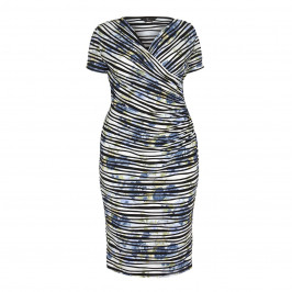 TIA blue striped and ruched DRESS - Plus Size Collection