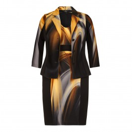 TIA Jacket & Dress in abstract black and mustard print - Plus Size Collection