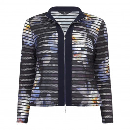 TIA MESH STRIPE FLORAL BOMBER STYLE JACKET  - Plus Size Collection