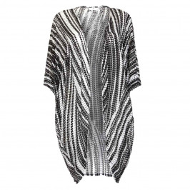 TIA PRINTED BLACK AND WHITE RELAXED FIT MESH JACKET  - Plus Size Collection
