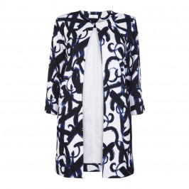 TIA NAVY PRINT LONG LINE JACKET - Plus Size Collection