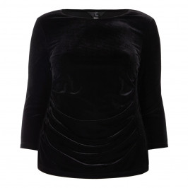 TIA BLACK VELVET DIAMANTE EMBELLISHED TOP - Plus Size Collection