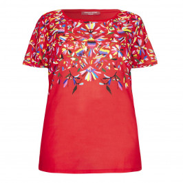 Marina Rinaldi red Tunic with print front - Plus Size Collection