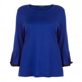 VERPASS BLUE SWEATER WITH PLEATED TRUMPET CUFF - Plus Size Collection