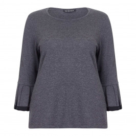 VERPASS SWEATER PLEATED TRUMPET CUFF GREY - Plus Size Collection