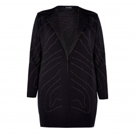 VERPASS ABSTRACT INTARSIA CARDIGAN BLACK - Plus Size Collection
