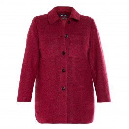 BEIGE BOILED WOOL JACKET FUCHSIA  - Plus Size Collection