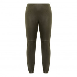 VERPASS ECO LEATHER STRETCH TROUSER GREEN - Plus Size Collection