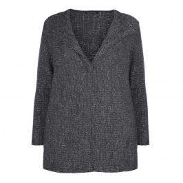 VERPASS RIBBED LUREX CARDIGAN IN CHARCOAL - Plus Size Collection