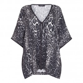 VERPASS monochrome leopard print poncho CARDIGAN - Plus Size Collection