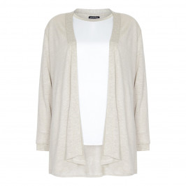 VERPASS TWINSET LINEN CARDI AND SATIN VEST
