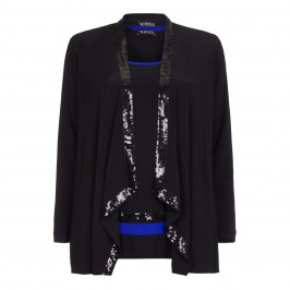 VERPASS sequin trimmed CARDIgan with VEST - Plus Size Collection