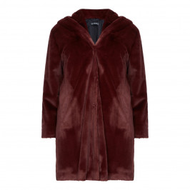 VERPASS FAUX FUR BORDEAUX COAT  - Plus Size Collection