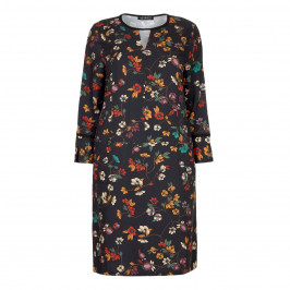 VERPASS BLACK BACKGROUND FLORAL PRINT DRESS - Plus Size Collection