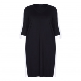 VERPASS BLACK SHIFT DRESS WITH WHITE TIPPING - Plus Size Collection