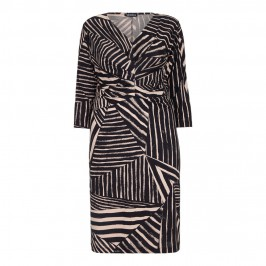 VERPASS monochrome abstract stripes DRESS - Plus Size Collection