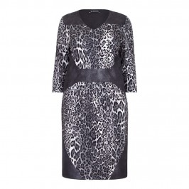 VERPASS monochrome leopard print DRESS with leather look side panels - Plus Size Collection