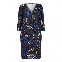 VERPASS royal blue and umber wrap DRESS - Plus Size Collection