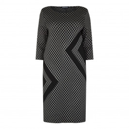 VERPASS CHARCOAL GEOMETRIC SPOT JACQUARD DRESS - Plus Size Collection