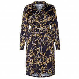 BEIGE PLUS EQUESTRIAN PRINT SATIN SHIRT DRESS BLACK AND GOLD  - Plus Size Collection