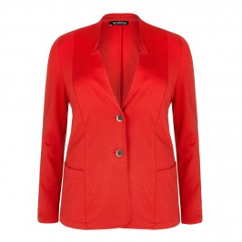 VERPASS RED COLLARLESS JACKET - Plus Size Collection