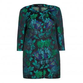 Beige Plus Blue Floral Print Jacquard Jacket - Plus Size Collection