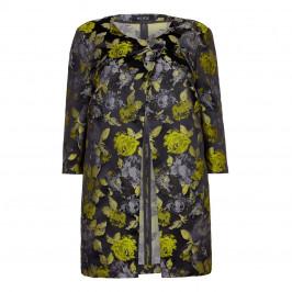 Beige Plus Lime Floral Print Jacquard Jacket  - Plus Size Collection