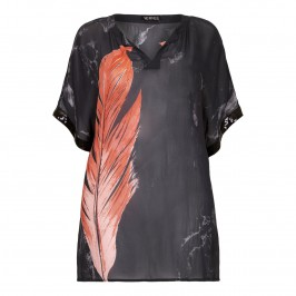 VERPASS feather print chiffon KAFTAN - Plus Size Collection