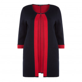 VERPASS LONG CARDIGAN WITH RED TIPPING - Plus Size Collection
