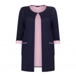 VERPASS navy collarless KNITTED JACKET with pink interior - Plus Size Collection