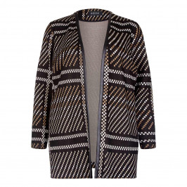 BEIGE LABEL KNITTED PRINT CAMEL JACQUARD GRID EFFECT JACKET - Plus Size Collection