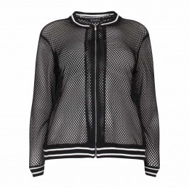 VERPASS BLACK MESH COTTON KNITTED BOMBER JACKET - Plus Size Collection