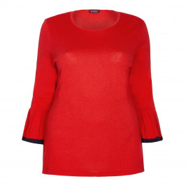 VERPASS RED SWEATER WITH PLEATED TRUMPET CUFF - Plus Size Collection