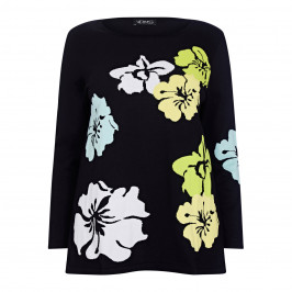 VERPASS FLORAL INTARSIA SWEATER BLACK AND YELLOW - Plus Size Collection