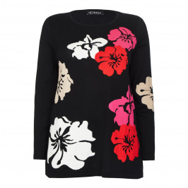 VERPASS FLORAL INTARSIA SWEATER BLACK AMD RED - Plus Size Collection
