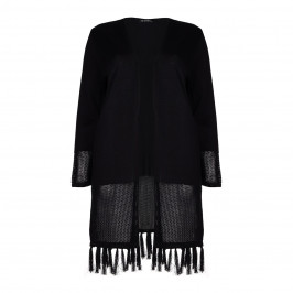 VERPASS black fringed LONG CARDIGAN - Plus Size Collection