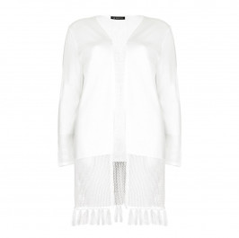 VERPASS ivory fringed LONG CARDIGAN - Plus Size Collection