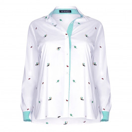 VERPASS WHITE SHIRT TROPICAL EMBROIDERY - Plus Size Collection