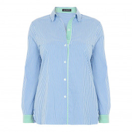 VERPASS BLUE PINSTRIPE SHIRT CONTRASTING PLACKET - Plus Size Collection