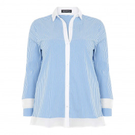 VERPASS BLUE STRIPED COTTON BLEND SHIRT - Plus Size Collection
