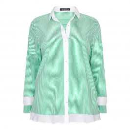 VERPASS GREEN STRIPED COTTON BLEND SHIRT  - Plus Size Collection